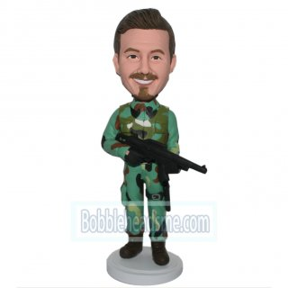 Custom Male Bobblehead In Battle Fatigues With Gun