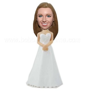 Brides Maid in Simple White Gown Bobblehead Doll