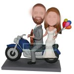 Custom bobblehead Groom With Guitar And Bride Waving Color Ball