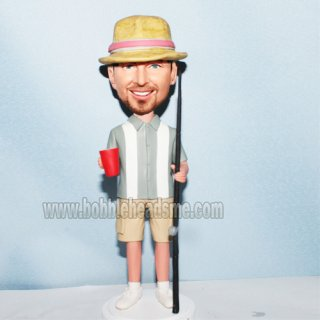 Casual Dress Male With Fishing Rod And A Cup Custom Bobbleheads