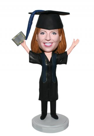 Custom Bobble Head Graduation Figurines Certificates In The Hand