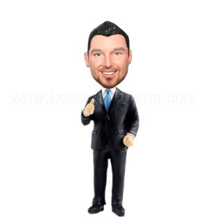 Thumb Up Groomsmen In Black Suit Customized Bobblehead