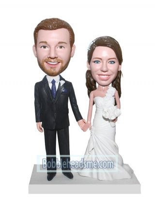 Cheap Customized Wedding Cake Topper bobbleheads Bride And Groom Hand In Hand