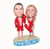 All In Red Couple Vacation On The Sea Bobblehead