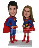 Custom Bobbleheads Couple Superman In Blue And Red