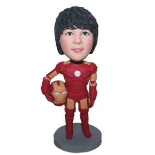Custom Boy Iron Man Bobblehead Right Hand Clutching A Helmet
