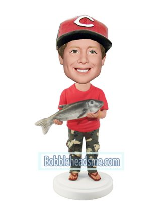 Fishman bobblehead In Red And Cargo Pants With A Fish