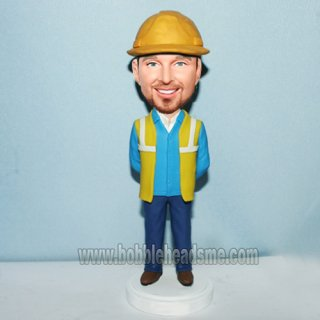 Construction Foreman With Arms Behind Back Bobble Head Doll