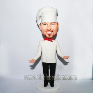 Arms Up Custom Male Chef Bobblehead Doll