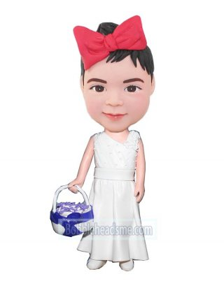 Custom bobblehead doll Bridal Girl With A Basket Of flowers