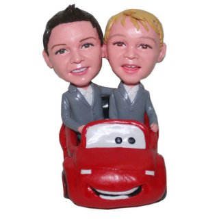 Custom bobblehead Doll Brothers Driving A Red Porch
