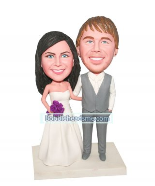 Customized Wedding Bobblehead doll Groom And Bride Arms Around