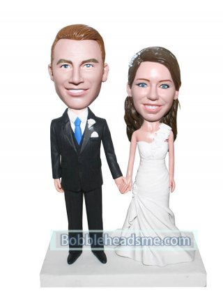 Hand In Hand Wedding Bobbleheads In Nice Wedding Dress