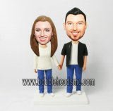 Couple In Jeans Hand In Hand Custom Bobblehead