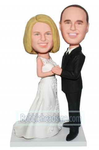 Customized Bobbleheads Wedding Dancing Couple Holding Hands