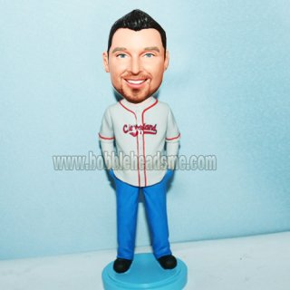 Hands On Pocket Male In Baseball Jersey Bobblehead Doll