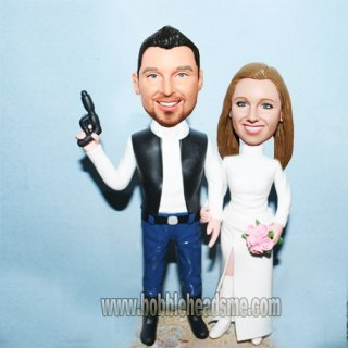 Spy Groom And Bride Pink Flower Bobbleheads