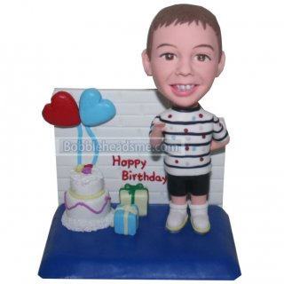Birthday Boy With Presents And Cake Customized Bobblehead
