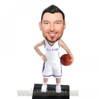 Custom Man In All Star Basketball Uniform Bobbleheads