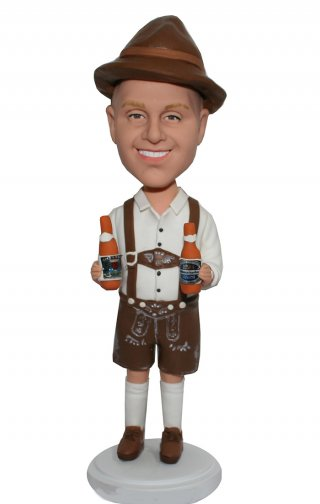 Customized Bobble Head Cowboy In Brown Suspenders With Beer At Hand