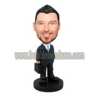 Blue Tie Businessman With Brifecase Bobblehead Dolls