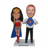 Personalized Couple Bobblehead Doll Costume Supperman And Wonder