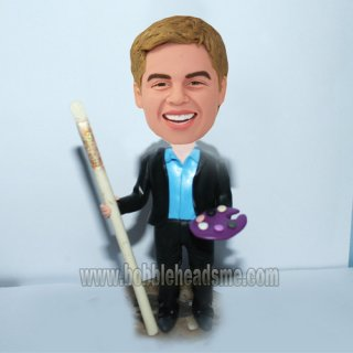 Personalized Painter With Pigment And Brush Pen Bobblehead