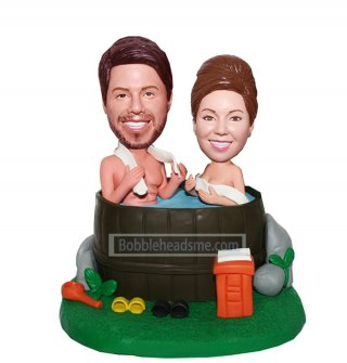 Custom Couple bobblehead Man And Woman Bathing In A Tub