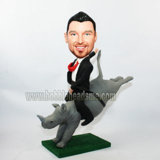 Custom Businessman Riding A Rhino Bobblehead