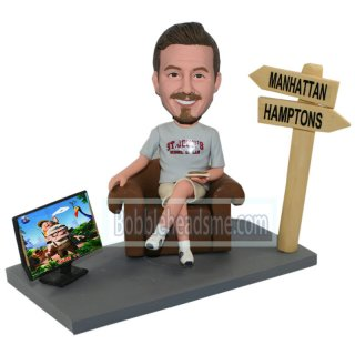 Casual Male Seated On A Sofa With Sandwich Customized Bobblehead