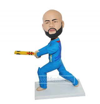 Customized Bobble head Cricket Player In Blue Jersey Doll 1