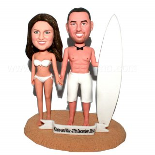 Surfing Couple With Surfboard Customized Bobbleheads