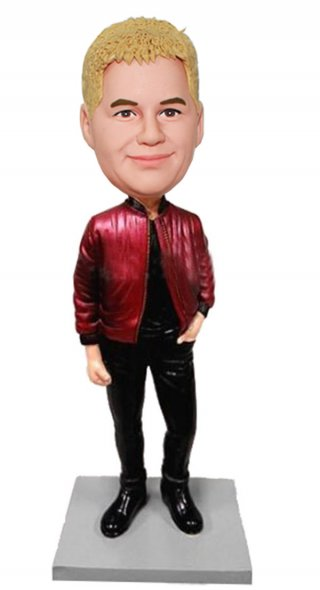 Custom Leather Jacket Bobble Head Of My Head
