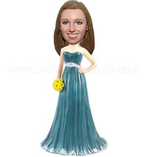 Teal Long Dress with Yellow Buqote Bridesmaid Bobbleheads