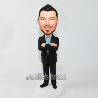 Button Up Crossed Arms Businessman Custom Bobbleheads Doll