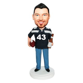 Football Player With Football And Beer At Hands Custom Bobblehea