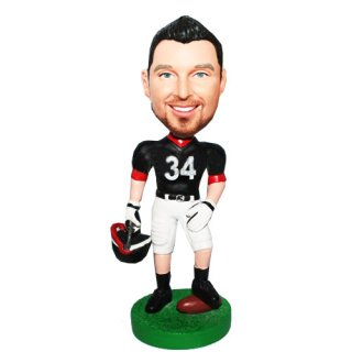 Custom Man With Helmet And Football Bobbleheads