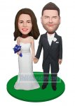 Customized Bobbleheads Groom In Tuxedo Holding Bride's Hand