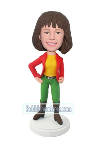 Fashion Girl Bobblehead In Red Blazer And Boots