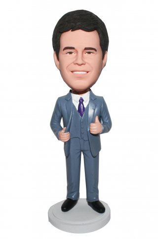 Personalized Bobblehead Thumb Up Groomsmen In Grey Suit And Vest