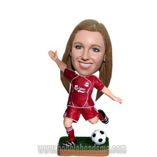 Dribbing Soccer Ball Girl Custom Female Bobbleheads