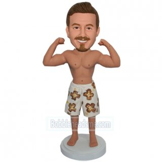 Custom Flexing Muscle Male Bobblehead In A Flower Shorts