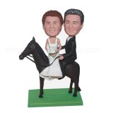 Wedding Couple Sit On The Horse Custom Bobble Head