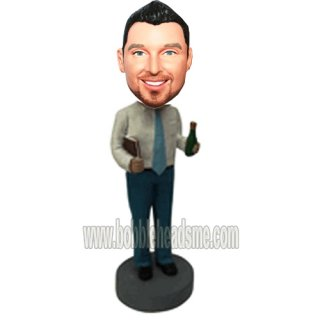 No Jacket Businessman With Beer And Portfolio Bobbblehead Doll