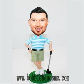 Stylish Golfer Bobblehead In Blue Stripe T-Shirt Male Lean On The Golf Club