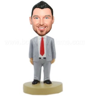 Open Suit Red Tie Handsome Groomsmen Bobblehead Doll