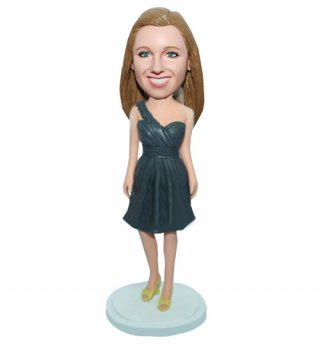 Female In Cyan Dress with Yellow Shoes Custom Bobblehead