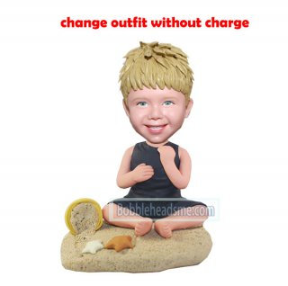 Custom Child bobblehead Baby In Onesie Sit On The Sand