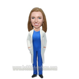 Woman in Surgeon's Gown Custom Female Bobblehead