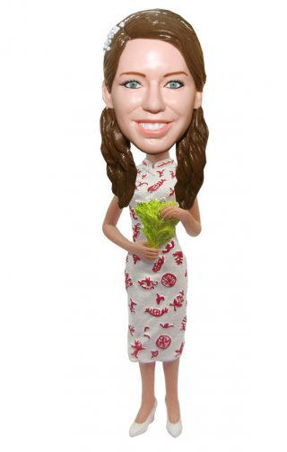 Customized Cheongsam Bobble Head Dolls Gifts For Her